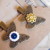 Retro butterfly Hair clips, Vintage Button hair Pin, romantic Hair jewelry, cute hairstyle
