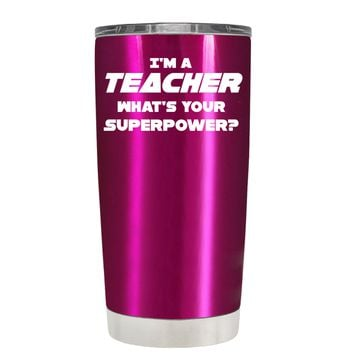 TREK I'm a Teacher, Whats Your Superpower? on Translucent Pink 20 oz Tumbler Cup
