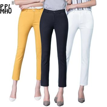 Casual Trousers Women 95% Cotton Elastic Slim Skinny Pants femal Spring Street Wear Pencil Pants Ladys Elegant Office Work Pant