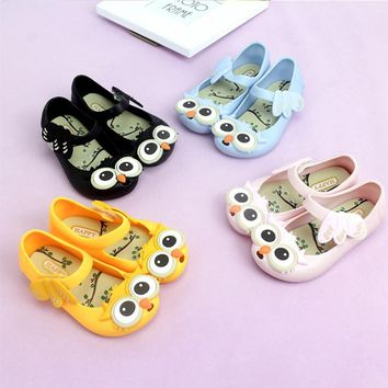 Cute Owl Baby Girls Jelly Shoes Mini Cartoon Animal Princess Shoes 2017 Fashion Children's Slippers Toddler Shoes Flats PVC