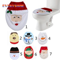 2017 Christmas Decorations For Home Snowman Santa Claus Toilet Seat Cover Toilet lid Elf New Year Xmas Christmas Ornaments 171122