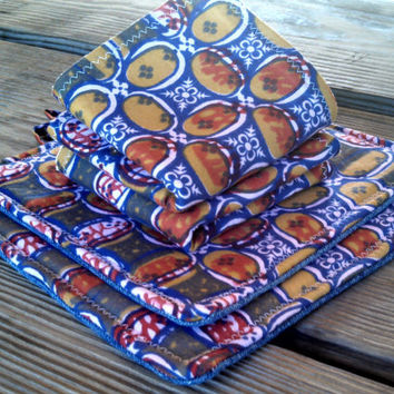 Set of 2 Homemade Pot Holders with Coordinating 2 Dish Rags / Blue Batik Kitchen Set / Kitchen Gift Set / Wedding Gift / Housewarming Gift