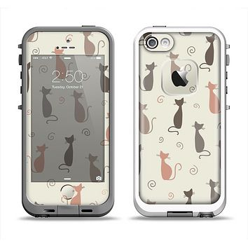 The Vintage Solid Cat Shadows Apple iPhone 5-5s LifeProof Fre Case Skin Set