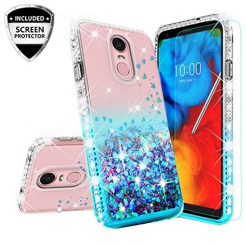 LG Stylo 4 Case, Stylo 4 Plus, Q Stylus Case Liquid Glitter Phone Case Waterfall Floating Quicksand Bling Sparkle Cute Protective Girls Women Cover for Stylo 4/Stylo 4 Plus/Q Stylus - Teal