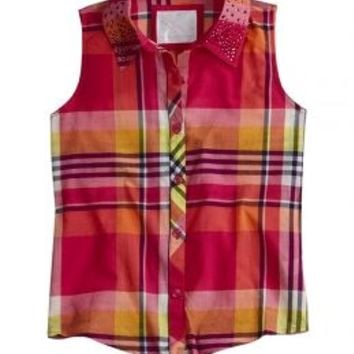 Plaid Tie Front Shirt | Girls {category} {parent_category} | Shop Justice
