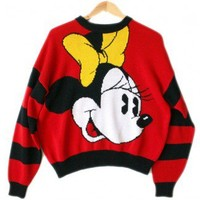 Vintage 90s Disney Minnie Mouse Tacky Ugly Sweater Women's Size Large/XL (L/XL) $25 - The Ugly Sweater Shop