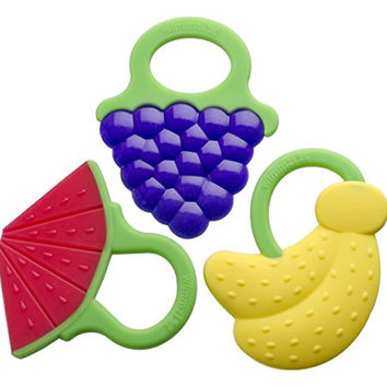 Baby Teething Toys Best Infant & Toddler Teething Pain Relief-Works Or Your Money Back! 100% Safe, Fun Set Of 3 Soft, Chewy Silicone Teethers With Rings-BPA Free, FDA-Wimmzi Tutti Frutti Teether Toys