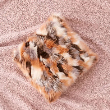 Mixed Faux Fur Throw Pillow | Urban Outfitters