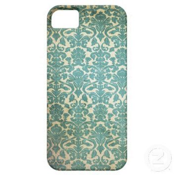 Vintage Teal Green Damask Pattern Background iPhone 5 Cases from Zazzle.com