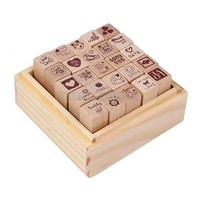 UN3F 25pcs Love Diary Rubber Wooden Stamp Set DIY with Wooden Box