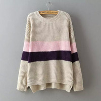 Block Stripe Asymmetrical Knitted Sweater