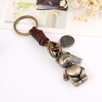 Vintage Faux Leather Circle Ring Cartoon Pig Bear Pendant Charm Car Key Chain
