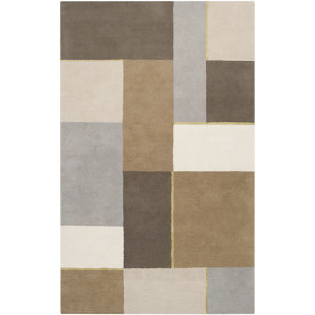 Harlequin New Zealand Wool Area Rug in Grey, Ivory, and Multi-Color design by Surya