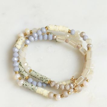 Multi Beaded Bracelet Set Taupe