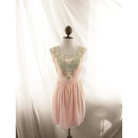 Great Gatsby Elven Blush Baby Pink Marie Antoinette Seafoam Mint Gold Embroidered Lord of the Rings Flowy Victorian Faerie Dress Long Tunic