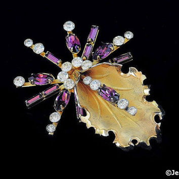 Signed Bond Boyd Brooch Sterling Silver Vermeil Lilly or Spider Pin Amethyst Purple Clear Crystal Rhinestones