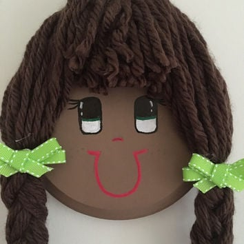 Doll Face Bow and Hair Clip Organizer-Custom Made- Brown Hair with Bangs and Green Eyes