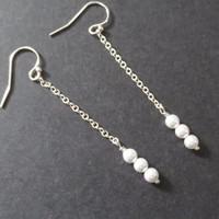 Tiny, Three, Pearls, Chain, Gold, Silver, Earrings, Gold filled, Sterling silver, Hooks, Tiny, Pearl, Earrings, Simple, Minimal, Gift