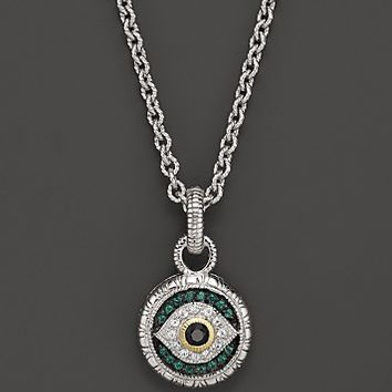 Judith Ripka Sterling Silver Evil Eye Necklace with Black and White Sapphires and Green Quartz, 17""
