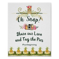 Tropical Floral Summer Oh Snap Hashtag Sign