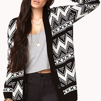 FOREVER 21 Zigzag Boyfriend Cardigan Black/Cream Medium