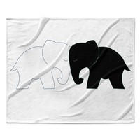 "NL Designs ""Black And White Elephant Love"" Abstract Animals Fleece Throw Blanket"