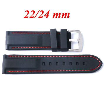 22/24mm Black Silicone Watch Strap Replacement Red Line Stitching Pin Buckle Bracelet Ourdoor Waterproof Rubber Diving Band