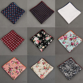 2016 Vintage Cotton+Polyester Handkerchief Floral Printed Pocket Square Wedding 23cm*23cm Hankies For Men Brand Pocket Towel