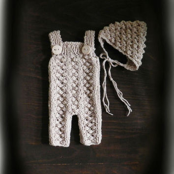 Cream Hand Knit Baby Romper and Bonnet/ Newborn Photo Prop/ Baby Photo Outfit/ Newborn Boy Romper/ Beige Newborn Romper/ Baby Boy Overall