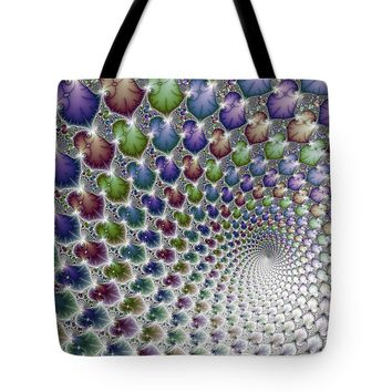 Into The Vortex Colorful Fractal Art Tote Bag