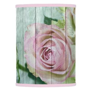 Shabby Chic Vintage Pretty Pink Roses On Blue Wood Lamp Shade
