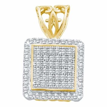 10kt Yellow Gold Women's Round Diamond Square Cluster Pendant 1-5 Cttw - FREE Shipping (US/CAN)