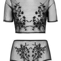 Embroidered Mesh Crop Top and Pant