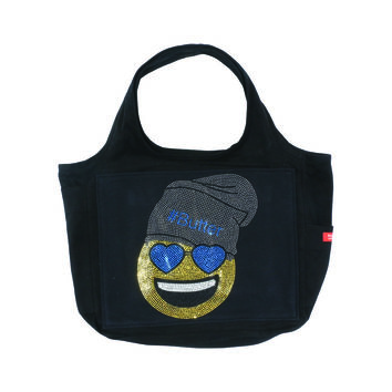 "Butter GIRLS ""BEANIE EMOJI"" CANVAS TOTE BAG - Black"