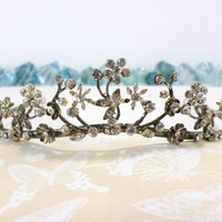 Bridal Wreath Tiara Rhinestone Tiara Vow Renewal Quinceanera Sweet 16 Headpiece Hair Piece Vintage Circlet Coronet