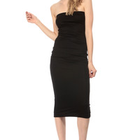 Black Strapless Midi Body Con Dress