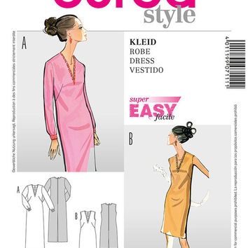 60s Inspired Mod Shift Dress Sewing Pattern, Mad Men, Burda 7114 Sizes 10, 12, 14, 16, 18, 20, 22, 24  uncut