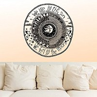 Wall Decal Vinyl Sticker Decals Decor Design We Live by the sun We feel by the moon Stars Qoute Ethnical Symbol Bedroom Dorm Office (r1100)