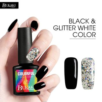 BUKAKI Glitter White Sequins Color+classic Black Cplor Nail Gel Polish Nail Art UV Gel Lacquer Best Gift for Christmas Holloween