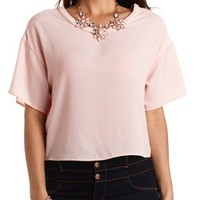 Boxy Chiffon Crop Top by Charlotte Russe