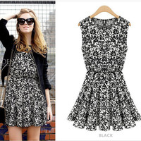 Fashion Women's Fashion Chiffon Print Slim One Piece Dress [4966213892]