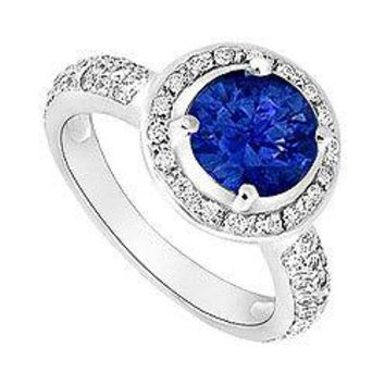 Diffuse Sapphire and Diamond Halo Engagement Ring 14K White Gold 1.50 CT TGW