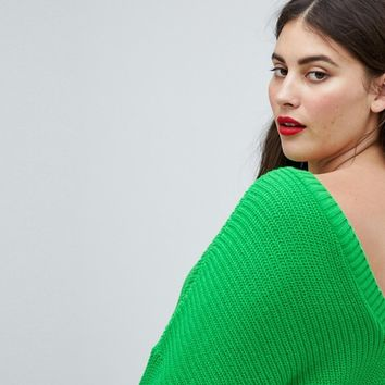 ASOS DESIGN Curve sweater with v back at asos.com