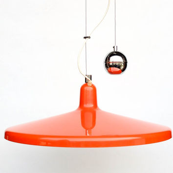 Large Adjustable Pulley Ceiling Light / Rise & Fall Space Age Saucer Pendant Lamp / 70's Retro Home Decor / Meblo Guzzini