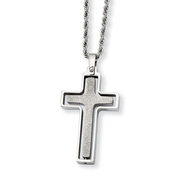 Stainless Steel Polished & Laser Cut Cross Pendant Necklace SRN722