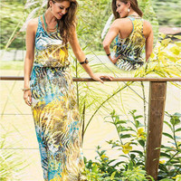 Tiger and Butterfly Print Sleeveless Maxi Dress