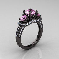 French 14K Black Gold Three Stone Light Pink Sapphire Diamond Wedding Ring, Engagement Ring R182-14KBGDLPS