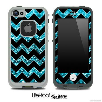 Black Chevron Turquoise Blue Glimmer Skin for the iPhone 5 or 4/4s LifeProof Case