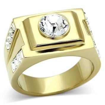 Gold Square Mens Ring