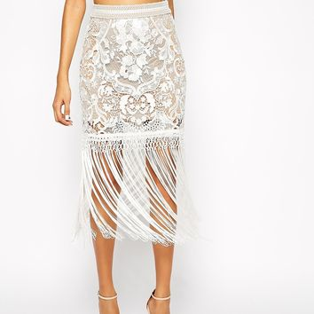 Self Portrait Looped Fringe Skirt In Lace